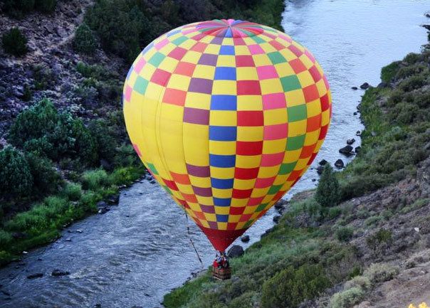 Balloon ride into the Rio Grande Gorge, 8 miles from Taos NM.